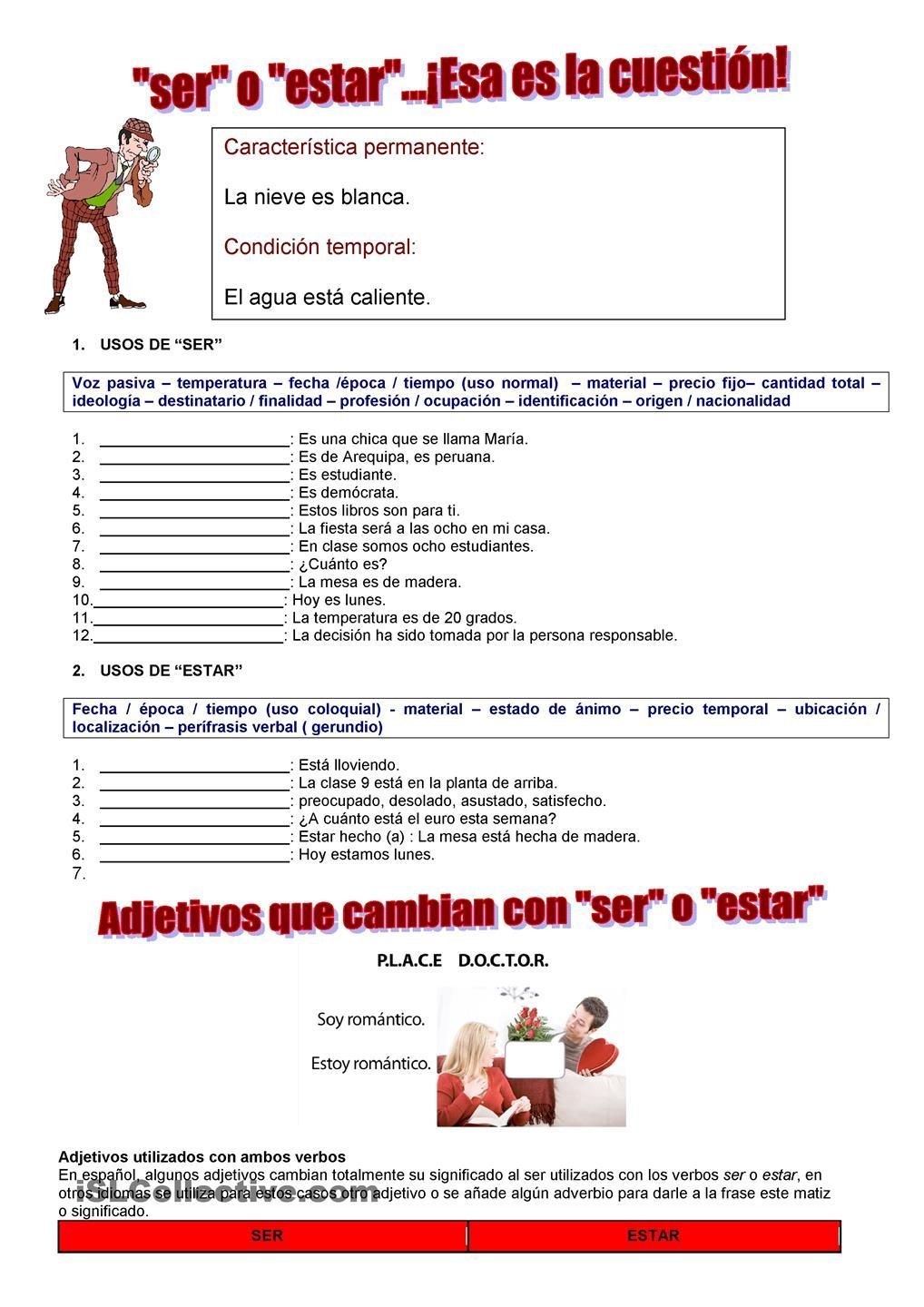 Uncategorized Ser Estar Worksheet verbos ser o estar spanish 101 pinterest printables student estar