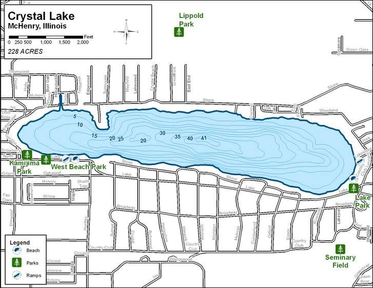 Crystal Lake Illinois Map.Depth Map Of Crystal Lake Crystal Lake Illinois Pinterest