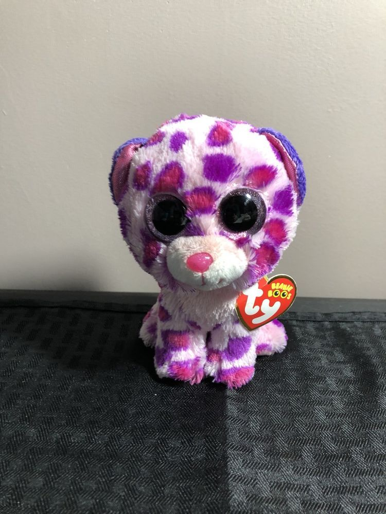 6 Ty Glamour Beanie Boo Leopard Cheetah Plush Stuffed Animal