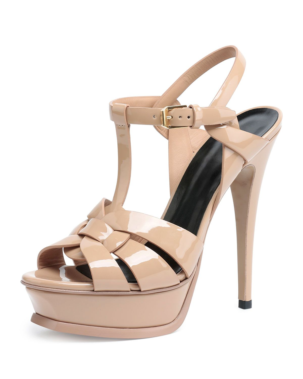 900d54792da Yves Saint Laurent Tribute Patent Leather Sandal, Dark Nude, Women's, Size:  39.5B/9.5B, Darker Nude