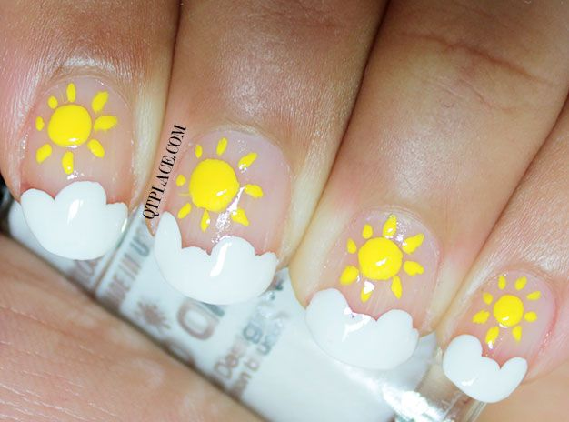 Nail Art For Beginners Sun And Clouds Nail Art Qtplace Diy Nail Designs Nail Designs Summer Nail Art For Beginners