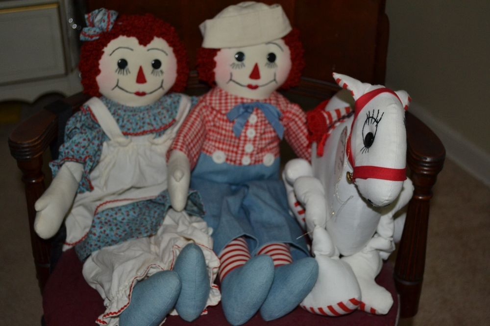 Vintage 1980's Raggedy Ann & Andy + Camel with Wrinkled Knees OOAK Artist dolls #Dolls