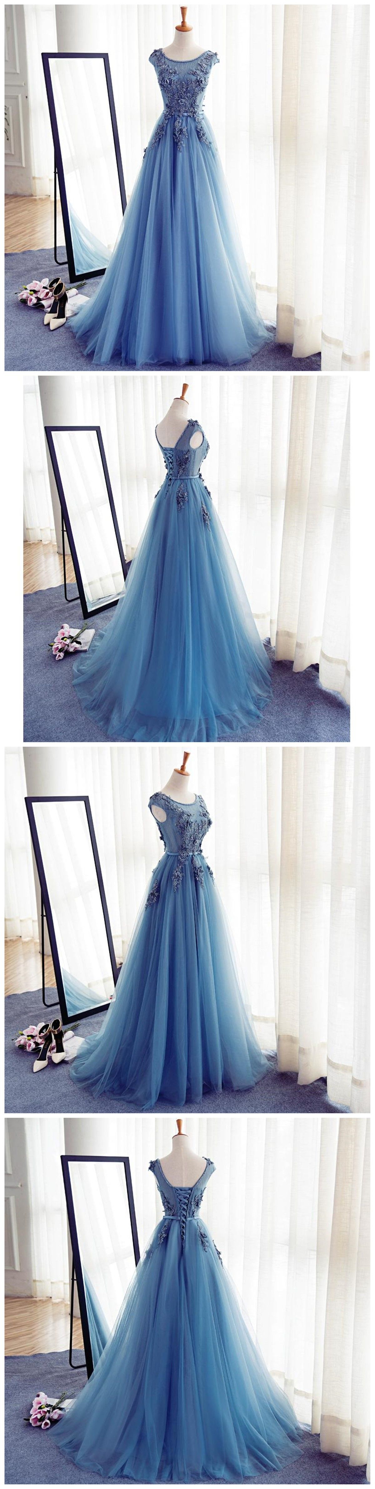 bedd103a0f01f Cap Sleeve Blue Lace Beaded Evening A Line Prom Dresses