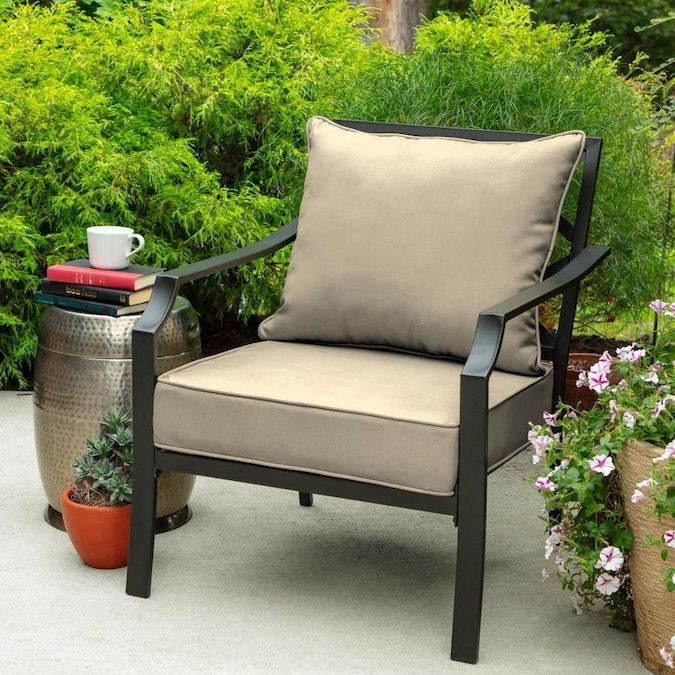 Allen Roth 2 Piece Madera Linen Wheat Deep Seat Patio Chair Cushion Lowes Com Patio Chairs Patio Chair Cushions Deep Seating