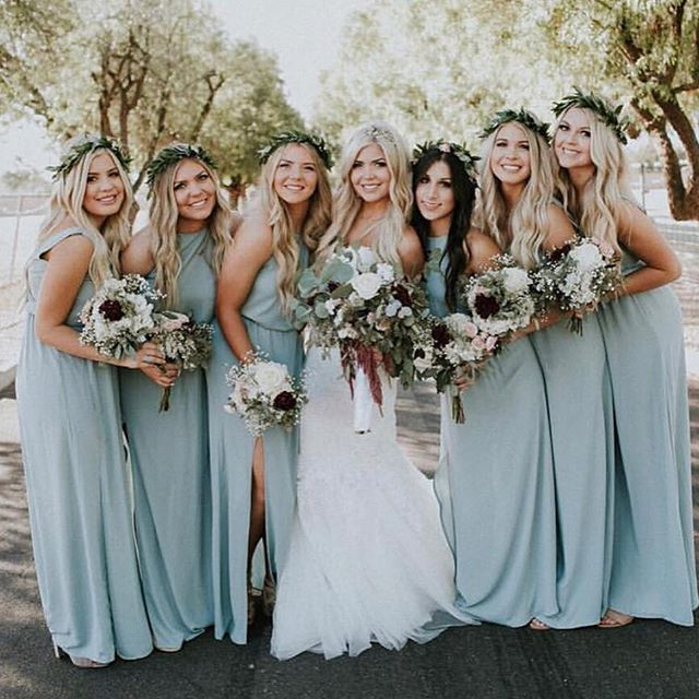 Laurenclancyy Dressed Her Squad In Silver Sage Bridesmaid Dresses Mumuweddings