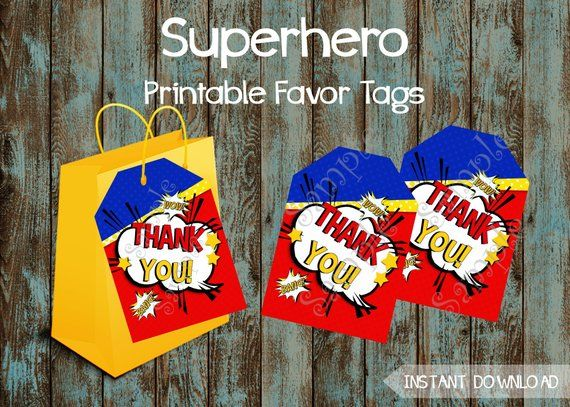 Superhero Favor Tags, Superhero Gift Tags, Superhero Party Tags, Superhero Thank You Tags, Superhero Pintable Favor Tags #superherogifts