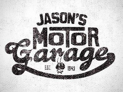 Jason 39 s motor garage logos pinterest tipograf a for Logos de garajes