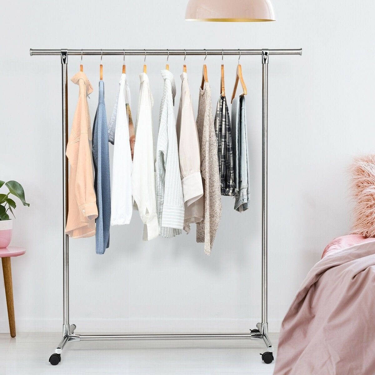 Clothing Rack Stainless Steel Heavy Duty Hanging Rail with Wheelsclothing