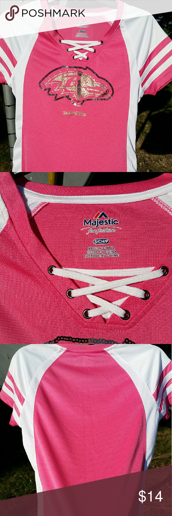 Baltimore Ravens Top Pink & white jersey top with sparkly