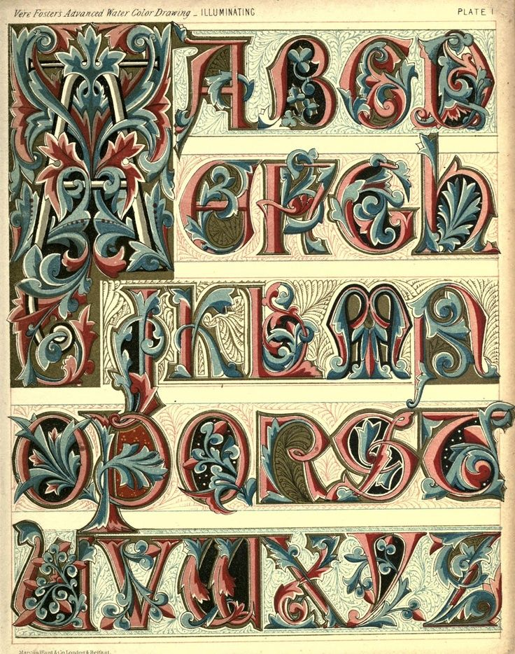 Medieval Calligraphy Alphabets A-Z