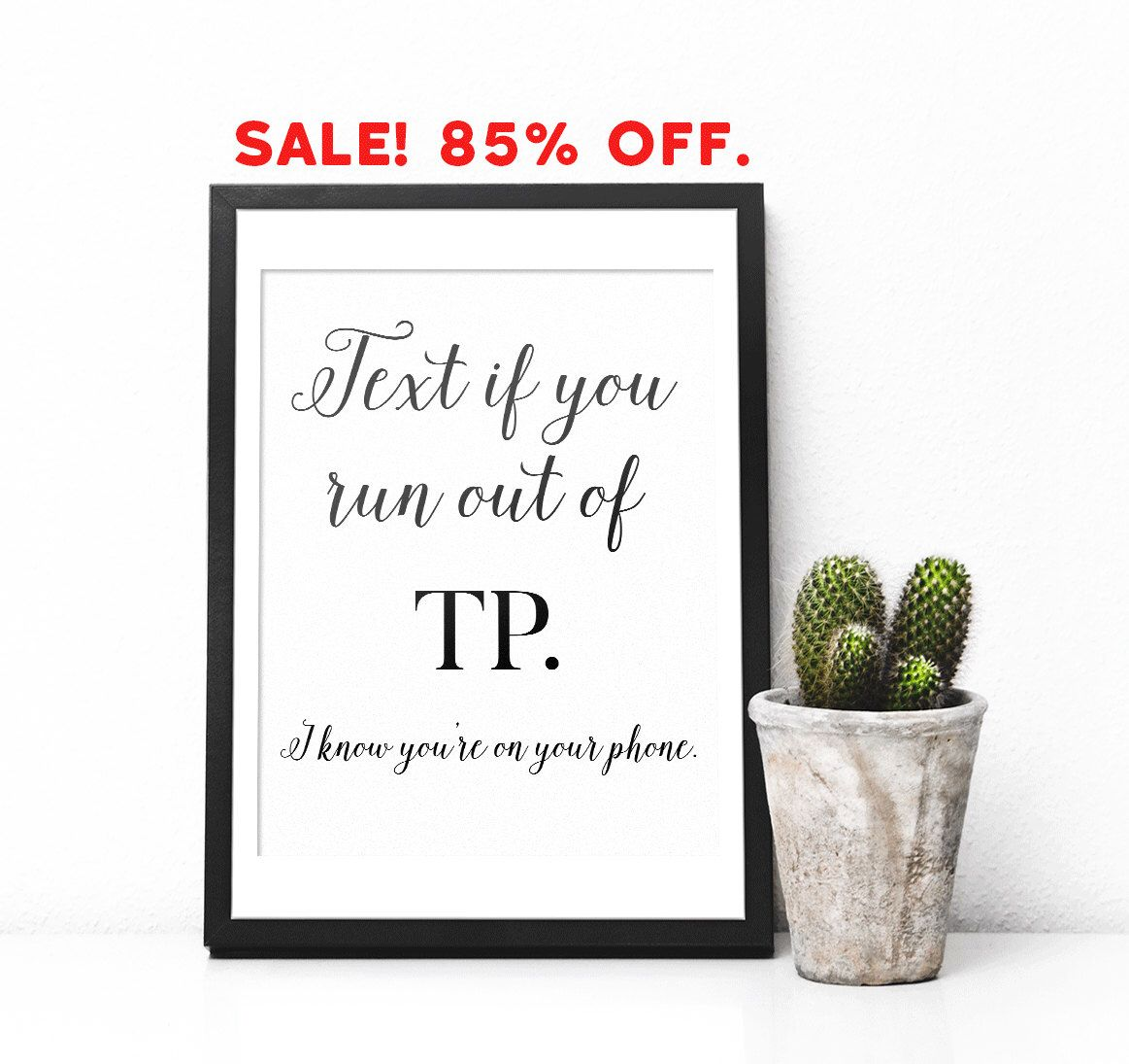 Funny Bathroom Art Typography Print Wall Toilet Humor Decor Printable By