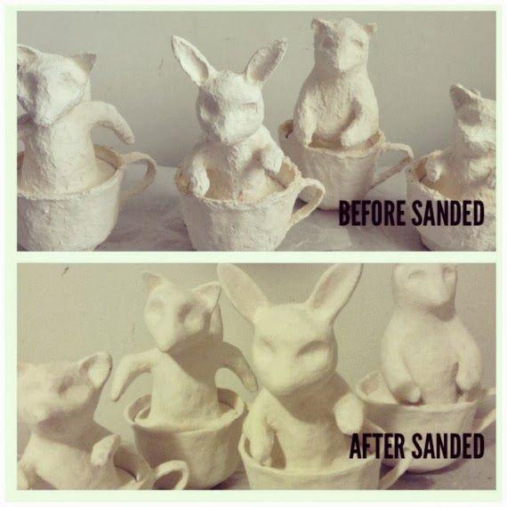 Artist in LA LA Land Illustration & Design: Finishing the Cute Animals in Teacups Papier-Mache Sculptures