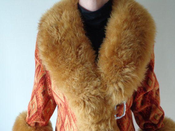 Unbelievable Golden Burnt Orange Tapestry 70 S Coat Etsy Coat Cool Coats Burnt Orange