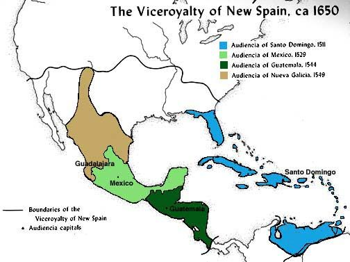 New Spain Map of the Vice Royality of New Spain with boundaries