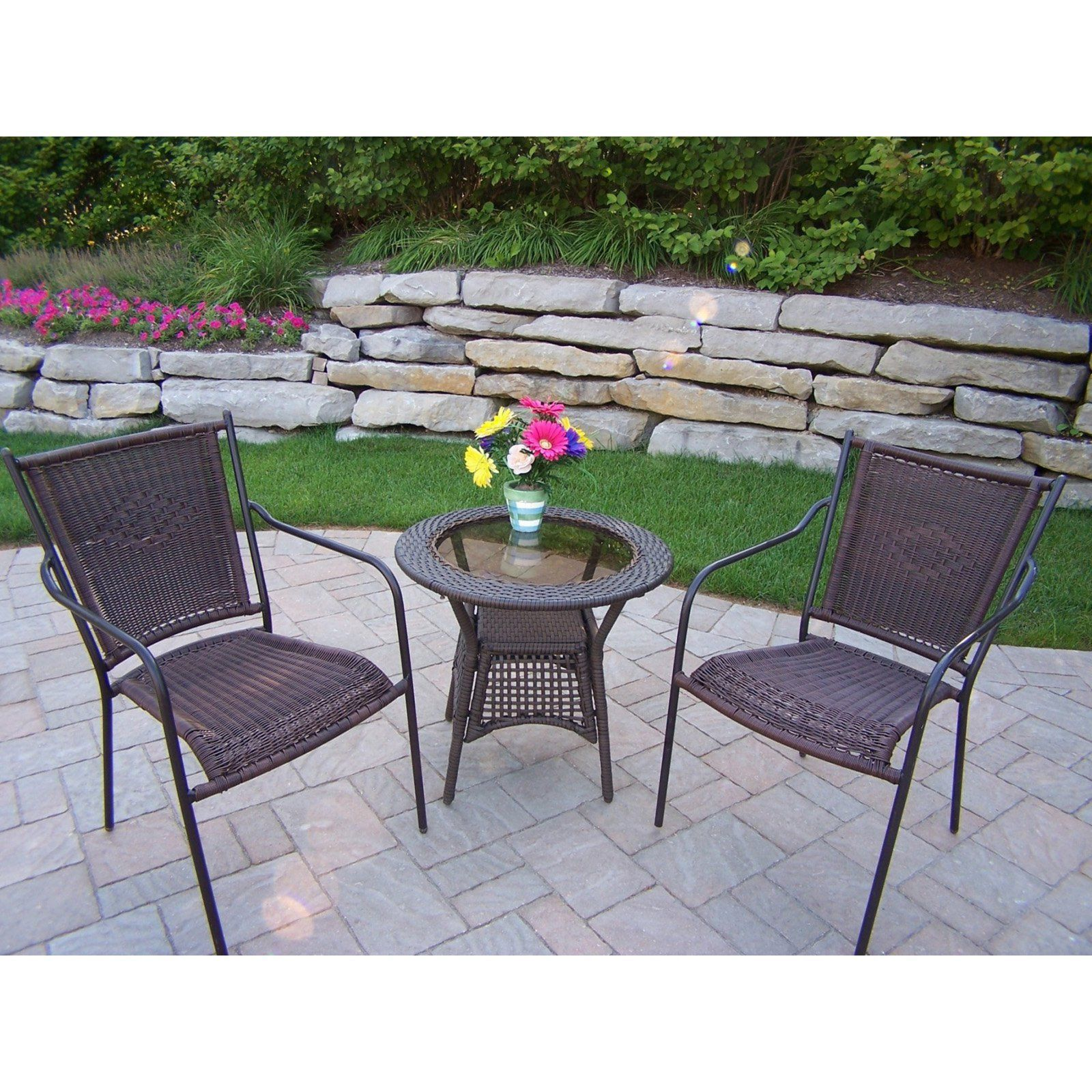 Oakland Living All Weather Wicker Straight Back Patio Bistro Set