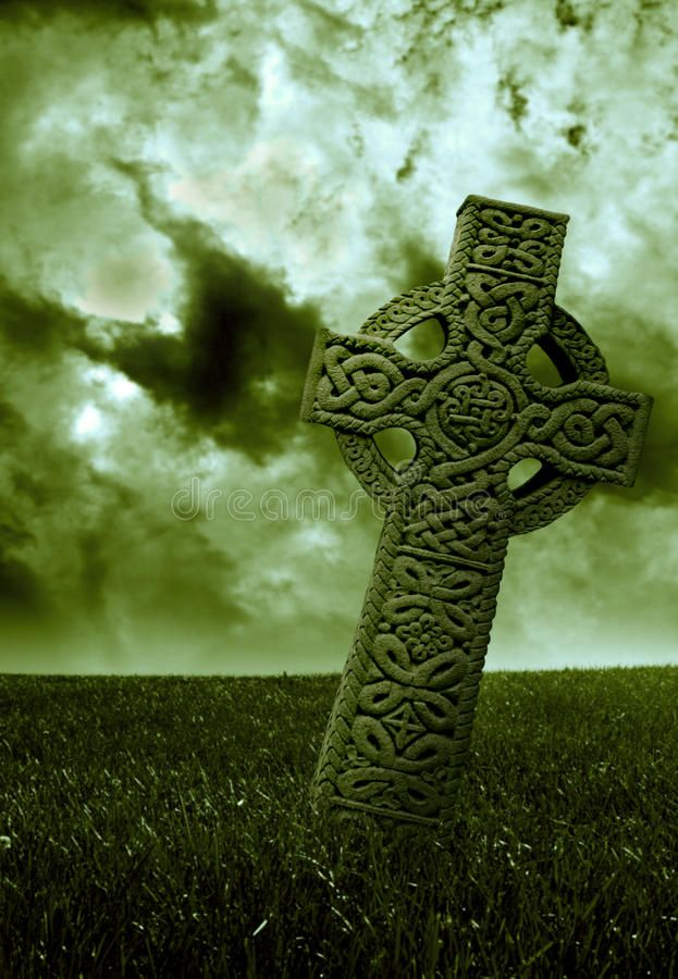 Celtic Green. A Celtic cross set in a cloudy field tinted green ,