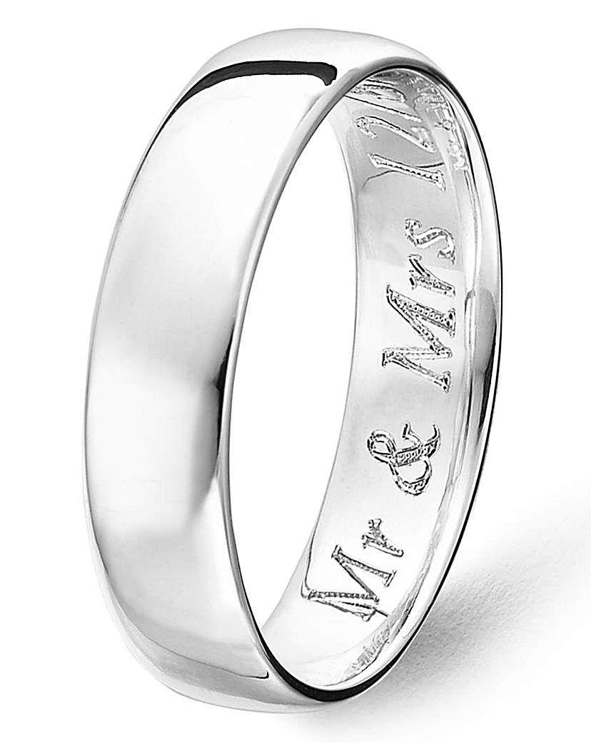 Argentium Silver 5mm Plain Wedding Band Wedding Bands Silver