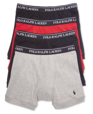e8447ea7f8541f Polo Ralph Lauren Men's 3+1 Bonus Pack Boxer Briefs - Black/Red/Grey  Assorted S