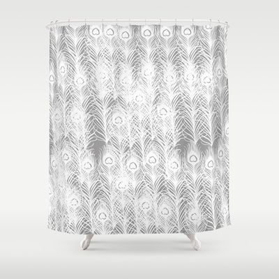 White Peacock Feathers Shower Curtain By Zen And Chic White