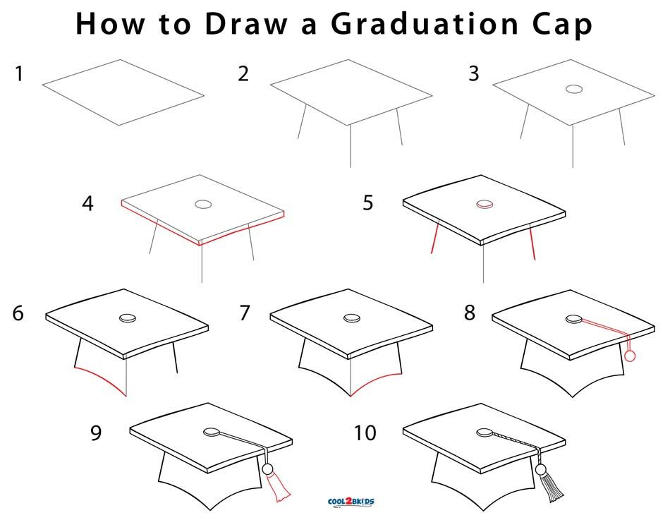 How To Draw A Graduation Cap Step By Step Pictures Cool2bkids Graduation Cap Drawing Graduation Drawing Cap Drawing