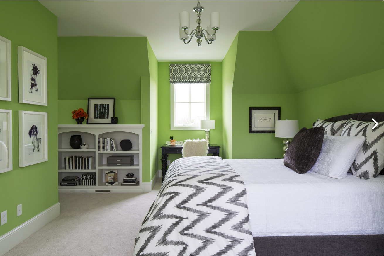 stunning girls bedroom boasts lime green walls painted sherwin williams lime rickey studded with framed black and white dog sketches across from charcoal