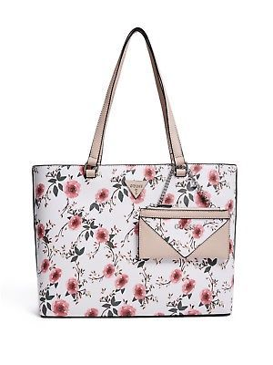 Guess Factory Women S Circlewood Floral Tote Floral Women Bags