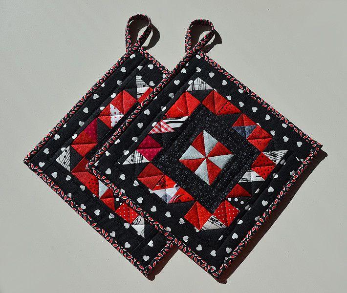 Weiß Rot Blaue Flagge: Patchwork-Topflappen, Schwarz-weiß-rot