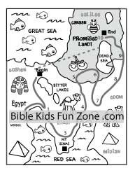 Bible Map Coloring Page For Preschoolers Shows The Red Sea And Promised Land