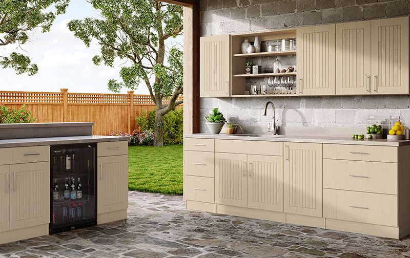 Naples River Sand Flat Panel Door With A Routed Cottage Inspired Center Panel Design Features A Wood Grain Outdoor Kitchen Cabinets Cabinetry Outdoor Kitchen