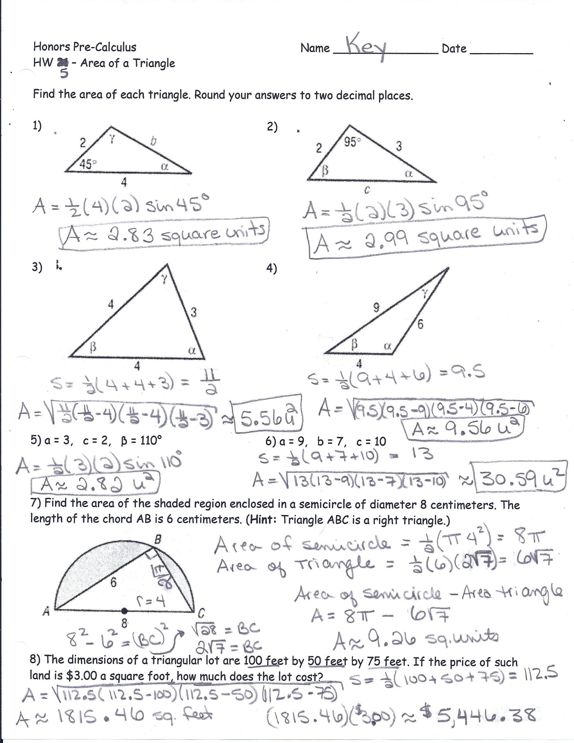 Law Of Sines Worksheet Answers Area A Triangle Using Sine Worksheet Colabug In 2020 Trigonometry Worksheets Word Problem Worksheets Triangle Worksheet