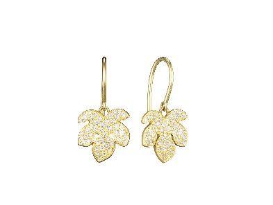 Finn - Pave Diamond Fig Leaf Earrings - Yellow Gold