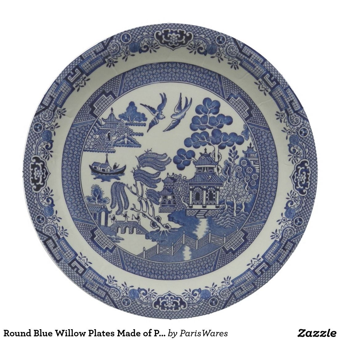 Round Blue Willow Plates Made of Paper:  9 inches