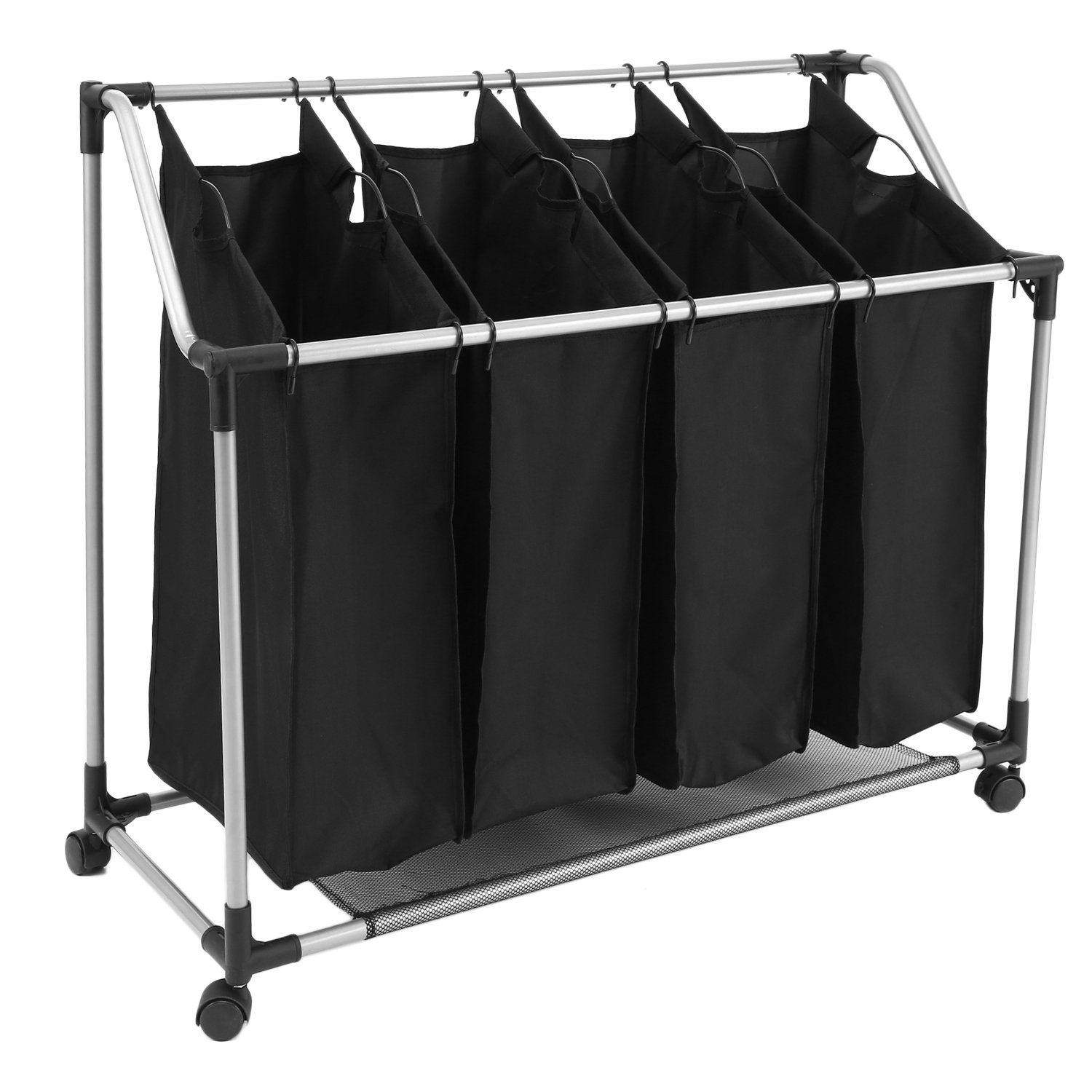 Papafix Laundry Sorter Cart 4 Bag Folding Heavy Duty Rolling Laundry Hamper Organizer With Removable Bags Wheels Black
