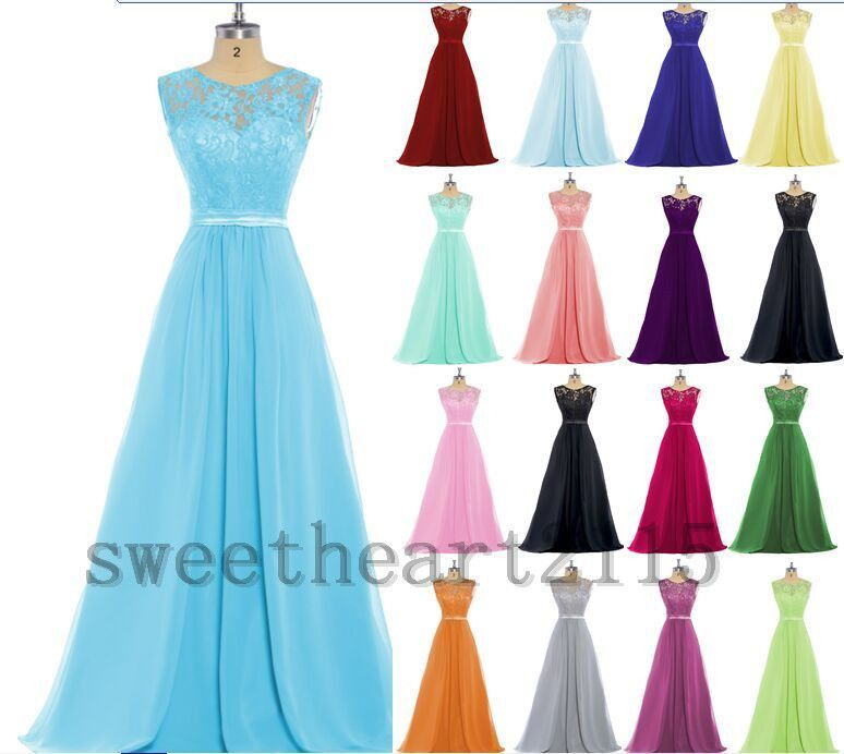 ❤New Formal Lace Evening Ball Gown Party Prom Bridesmaid Dresses ...
