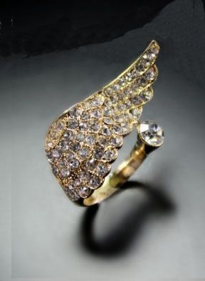 Gold Single Wing Style Diamond Embellished Ring