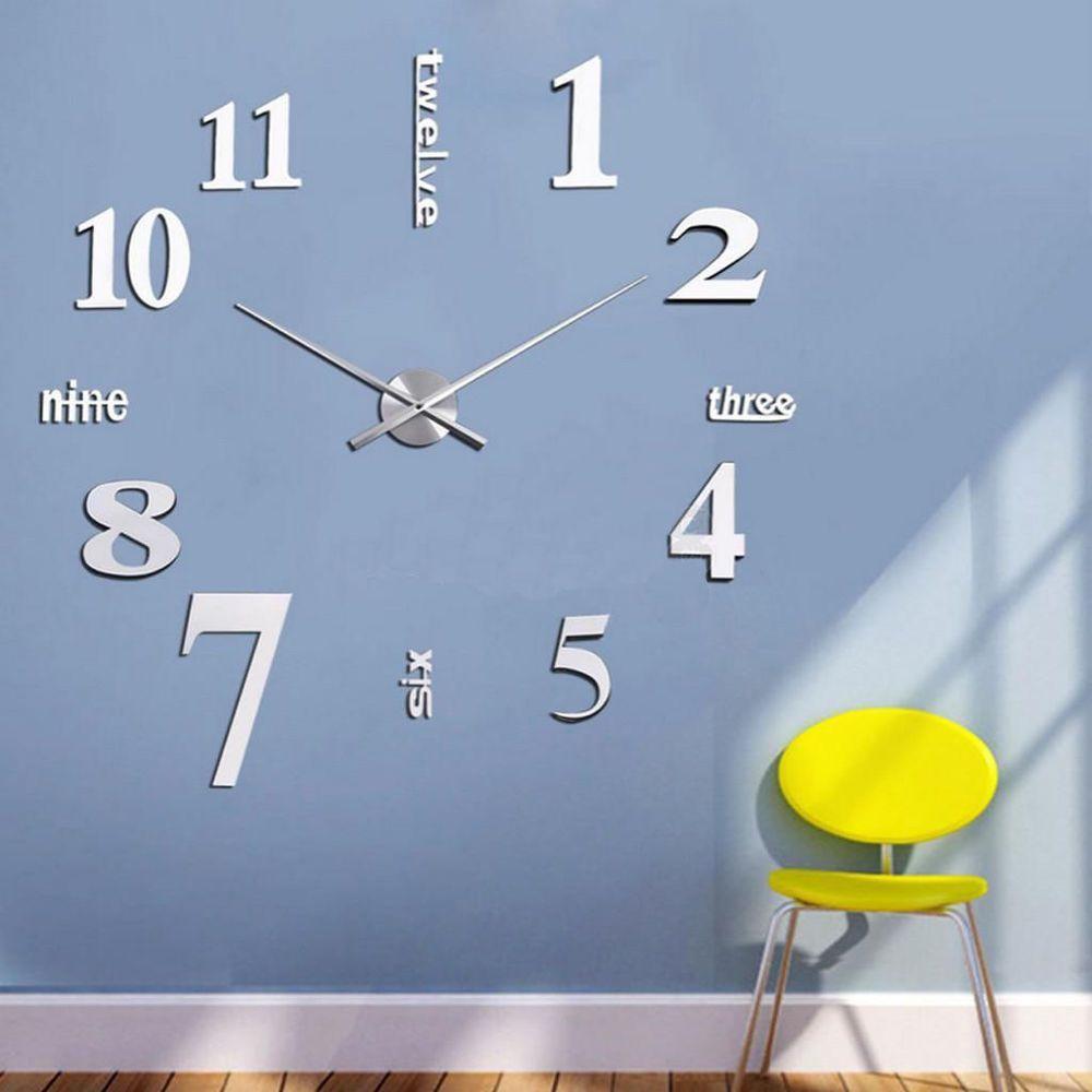 Weiss Design Wand Uhr Wohnzimmer Wanduhr Spiegel Wandtattoo Deko XXL 3D  Stylisch