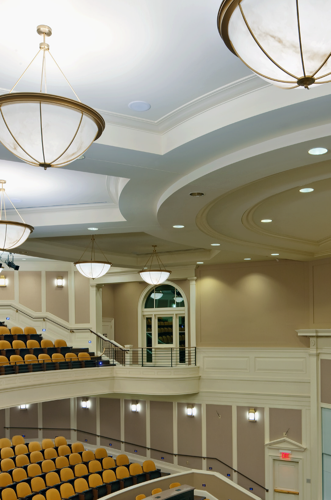 Shaper chandeliers. Auditorium at Farmer School of