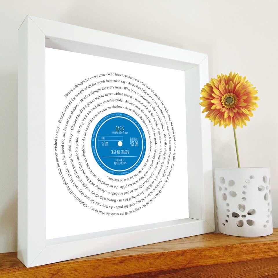 Oasis Cast No Shadow Framed Song Lyrics Vinyl Record