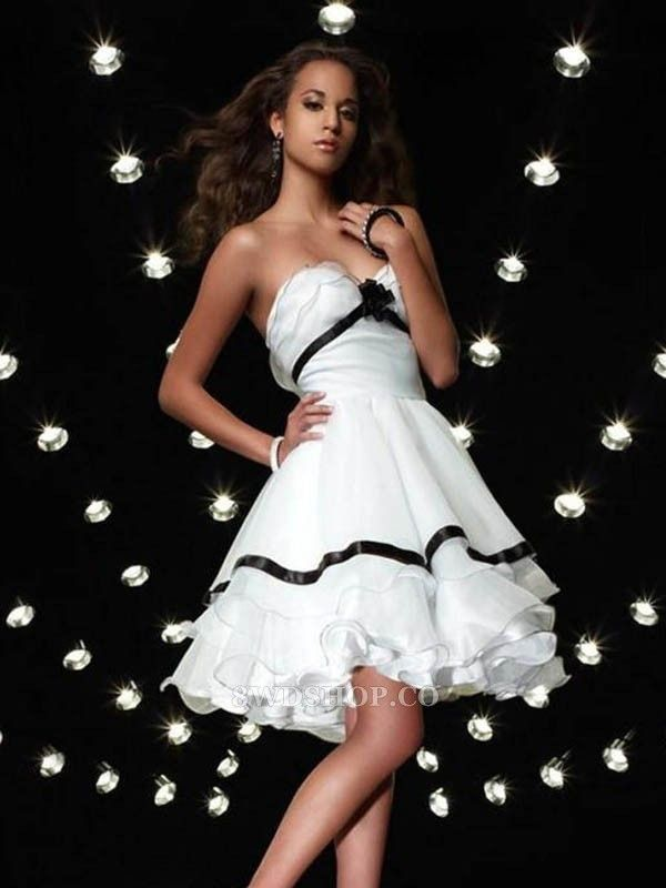 Sexy A-line Sweetheart Hand-Made Flower Sleeveless Short Mini Organza Cocktail Dresses Homecoming Dresses only $356.99 gownsage.com