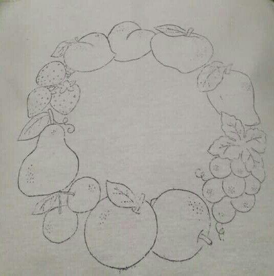 Corona de frutas patterns cromos pinterest coronas - Patrones para pintar en tela ...