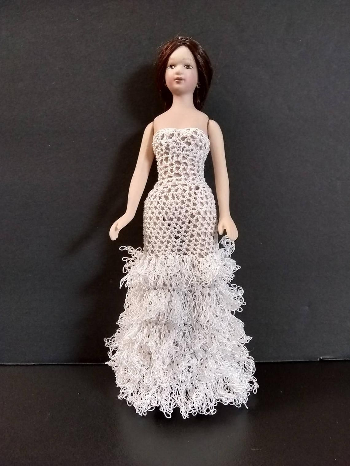 112 white wedding doll dress or yellow bridesmaid gown
