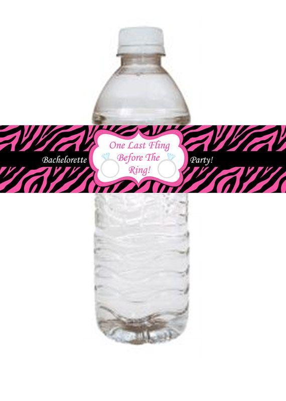 Pink Zebra Bachelorette Party Water Bottle Labels Fun And Easy Way - Bachelorette water bottle label template