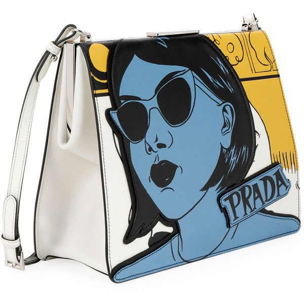 Prada Cartoon-Print Saffiano Frame Shoulder Bag QMNwZ1