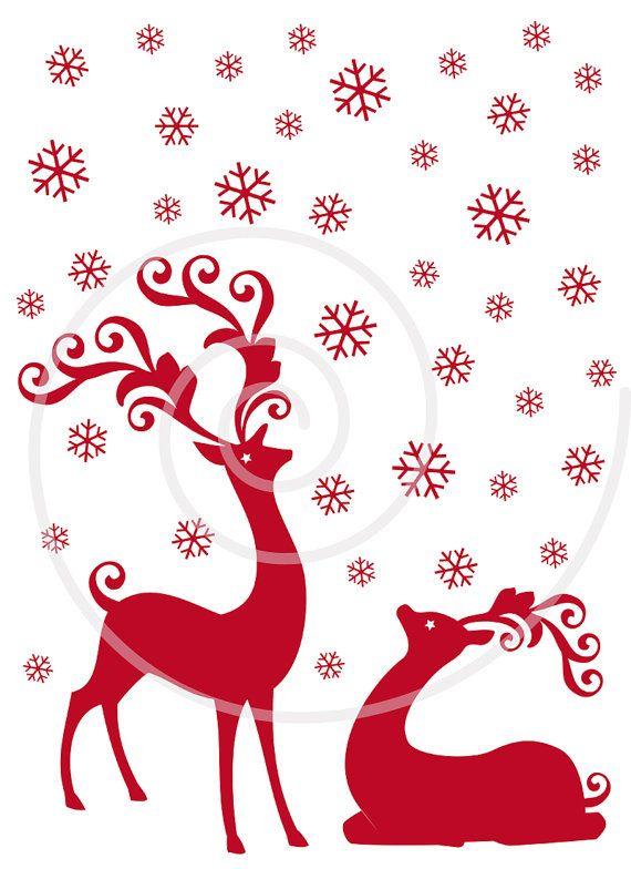 Cute Christmas deers, reindeer, stag, digital clipart, clip-art, printable, card, snowflakes, Xmas decoration, vector, instant download