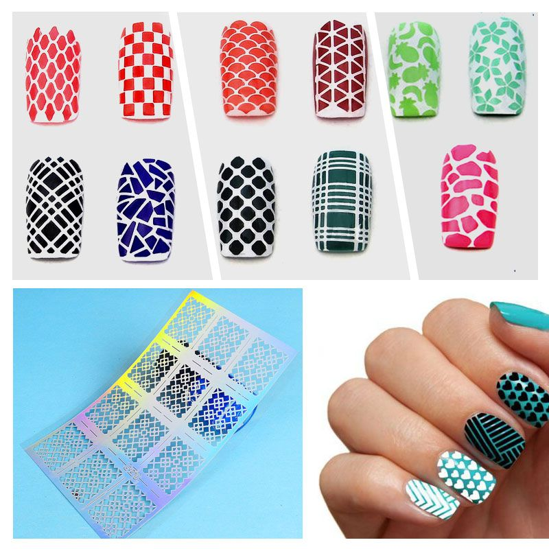 ZKO 12 Tips/Sheet Laser Nails Vinyls Nail Art Nails Stencil Nail Art ...