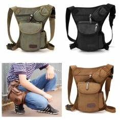 Men Canvas Drop Leg Bag Motorcycle Rider Belt Waist Fanny Pack SP