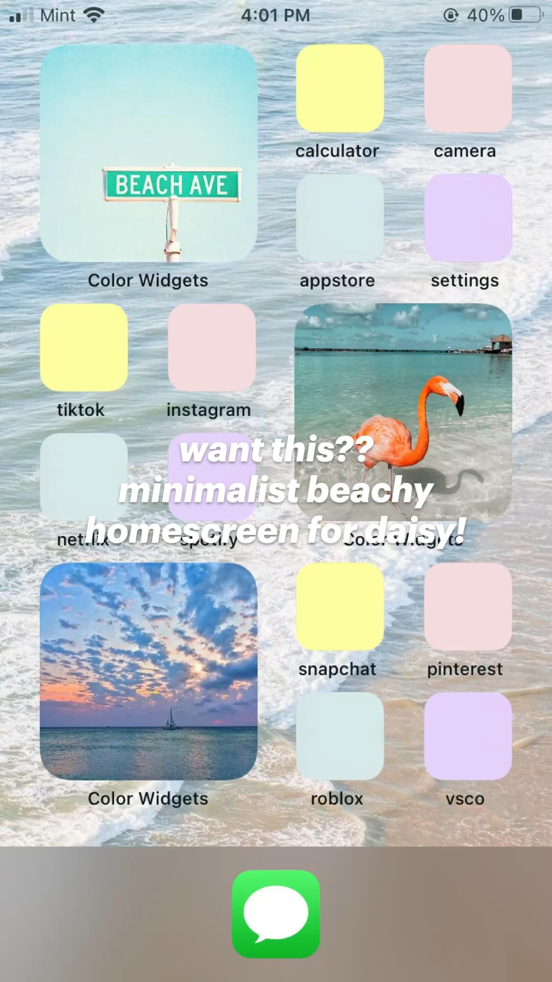 want this??  minimalist beachy homescreen for daisy!