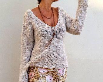Jersey de mujer suéter dos agujas jersey tejido flojo por EstherTg ... f09cbdc52fa8