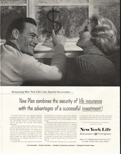 1958 New York Life Insurance Company Vintage Ad Assured