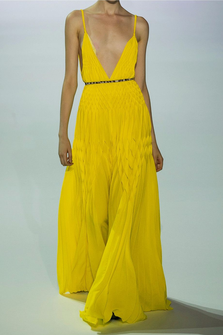 Electric-yellow crepe Slips on 100% polyester Dry clean Made in Italy